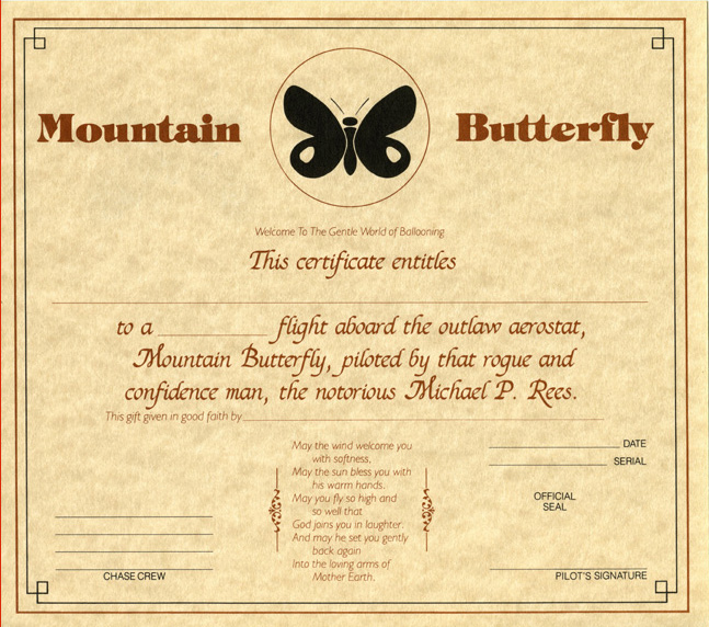 Mountain Butterfly inside of gift certificate