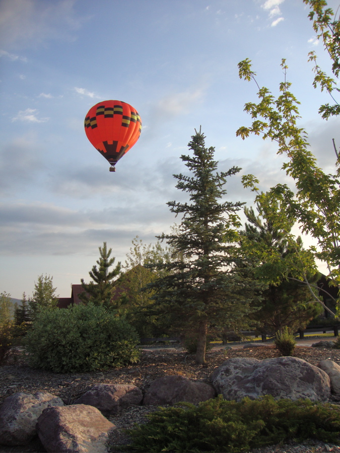 the hot-air balloon, the Lady Bug, launching from Greenough area, near the Blackfoot River in Western Montana